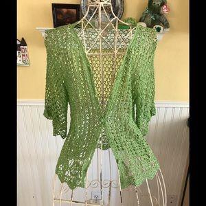 Crocheted pretty green vintage cardigan sweater Sm